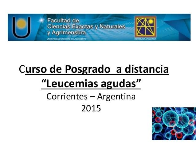 """Curso de Posgrado a distancia """"Leucemias agudas"""" Corrientes – Argentina 2015"""