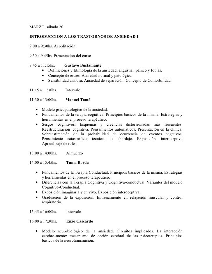 MARZO, sábado 20  INTRODUCCION A LOS TRASTORNOS DE ANSIEDAD I  9:00 a 9:30hs. Acreditación  9.30 a 9.45hs. Presentacion de...