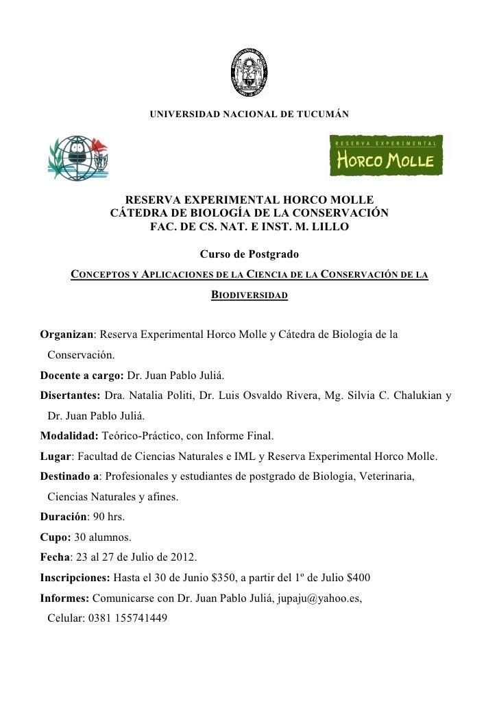 UNIVERSIDAD NACIONAL DE TUCUMÁN                 RESERVA EXPERIMENTAL HORCO MOLLE               CÁTEDRA DE BIOLOGÍA DE LA C...