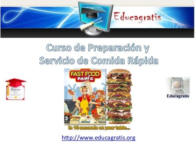 Curso de preparaci n y servicio de comida r pida - Curso de manipuladora de alimentos gratis ...