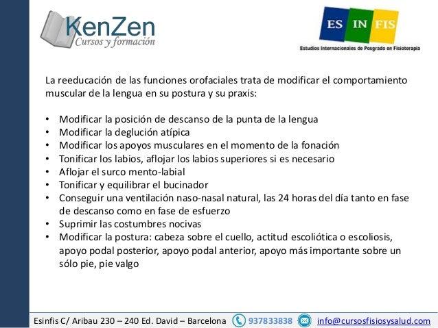 Esinfis C/ Aribau 230 – 240 Ed. David – Barcelona 937833838 info@cursosfisiosysalud.com La reeducación de las funciones or...