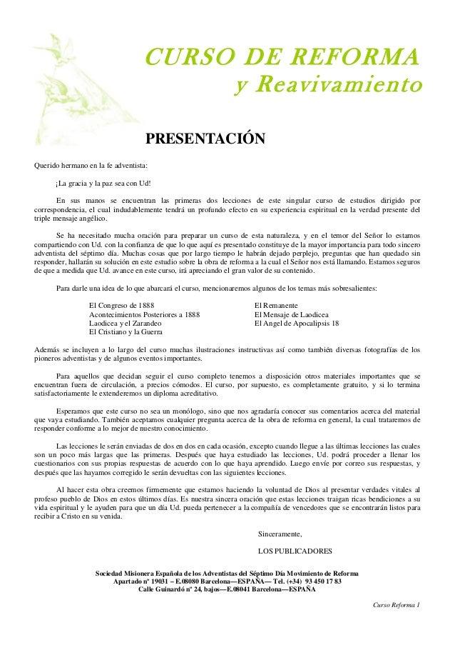 CURSO DE REFORMA                                        y Reavivamiento                                    PRESENTACIÓNQue...