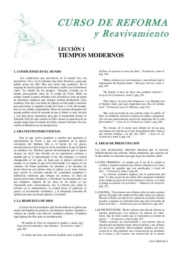 CURSO DE REFORMA                                            y Reavivamiento                                        LECCIÓN...