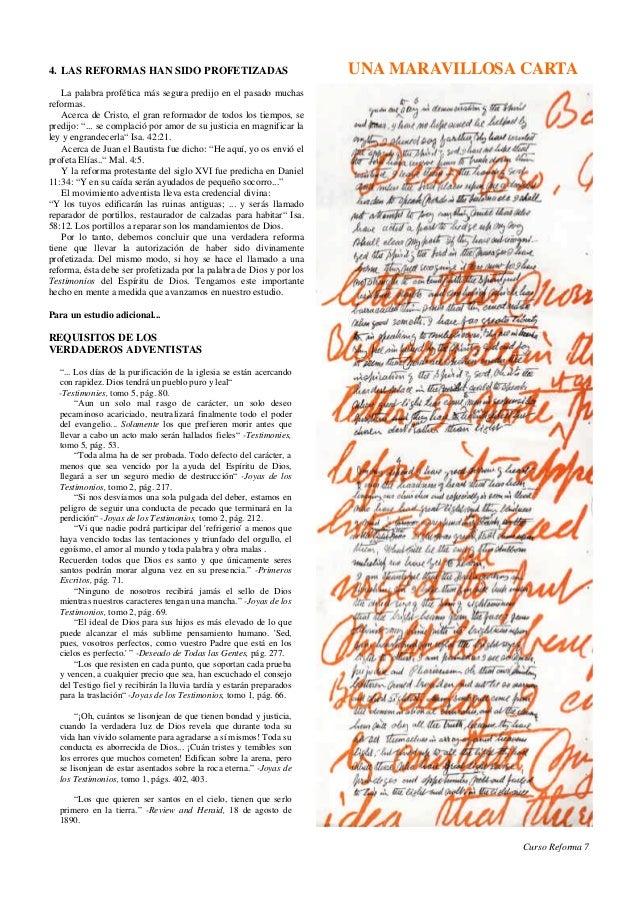 4. LAS REFORMAS HAN SIDO PROFETIZADAS                                  UNA MARAVILLOSA CARTA    La palabra profética más s...