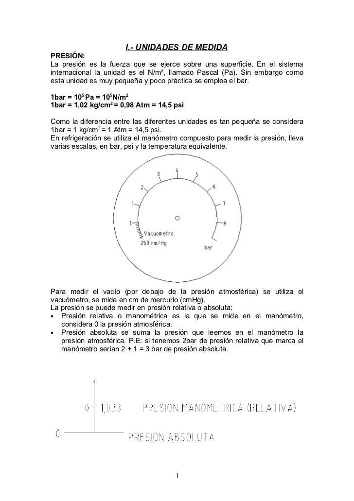 I.- UNIDADES DE MEDIDA PRESIÓN: La presión es la fuerza que se ejerce sobre una superficie. En el sistema internacional la...