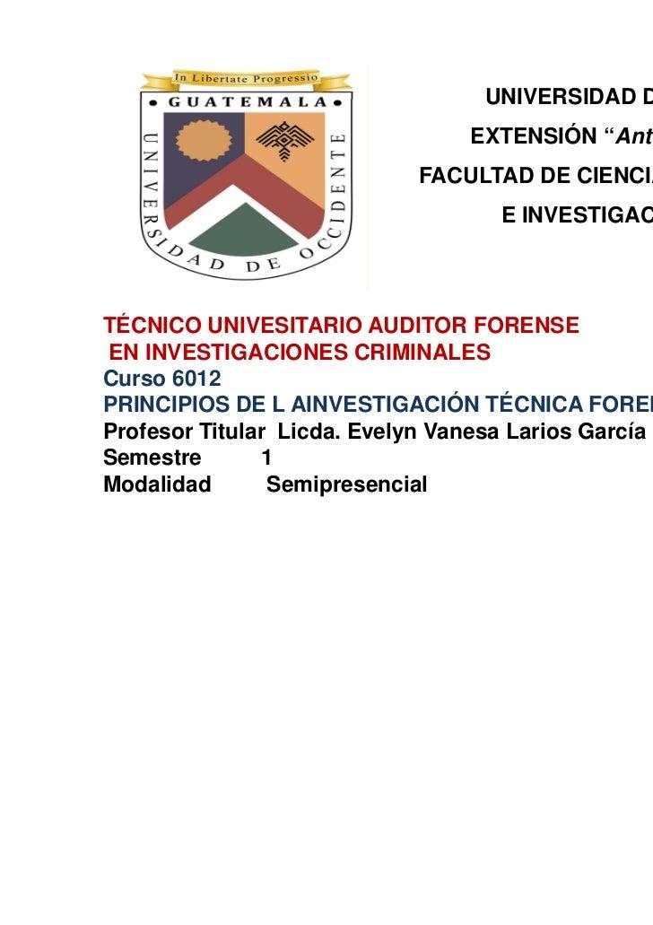 """UNIVERSIDAD DE OCCIDENTE                               EXTENSIÓN """"Antonio Beristain""""                           FACULTAD DE..."""