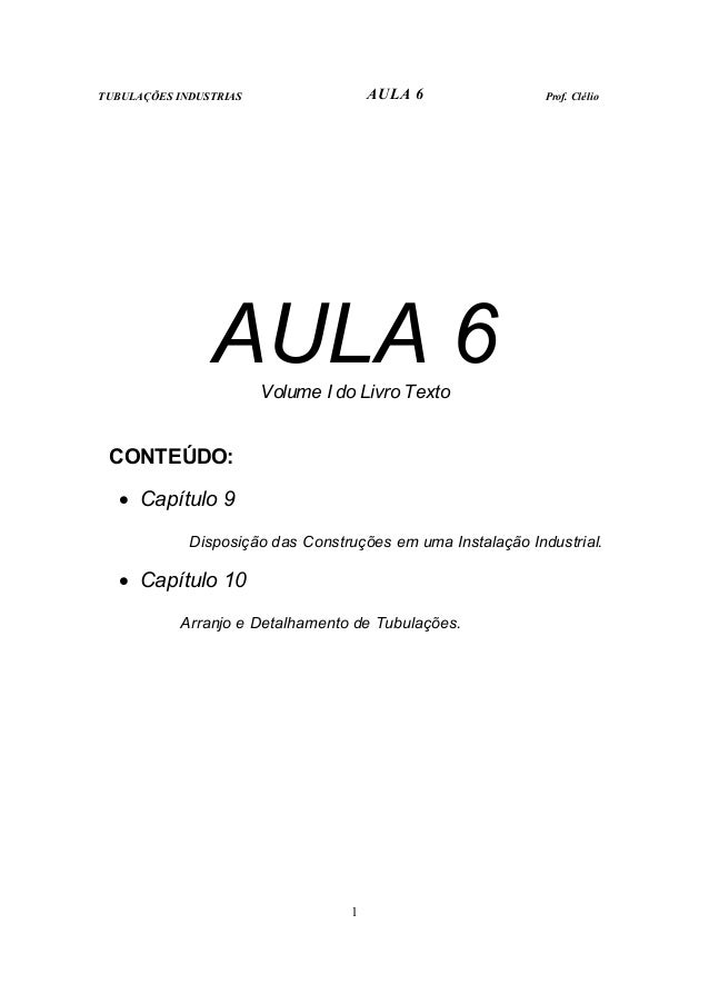 TUBULAÇÕES INDUSTRIAS AULA 6 Prof. Clélio  AULA 6  Volume I do Livro Texto  1  CONTEÚDO:  • Capítulo 9  Disposição das Con...
