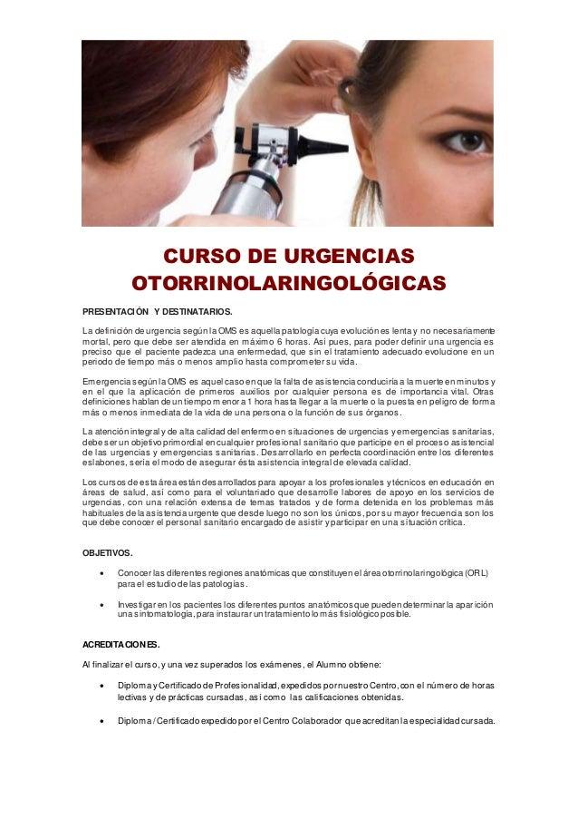 Curso de urgencias otorrinolaringológicas