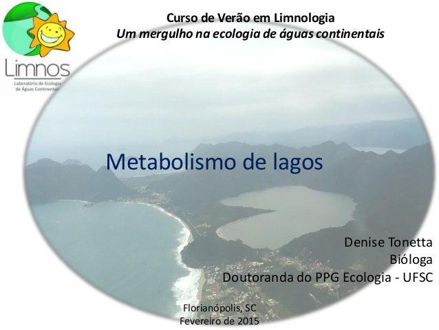 Metabolismo de lagos Denise Tonetta Bióloga Doutoranda do PPG Ecologia - UFSC Curso de Verão em Limnologia Um mergulho na ...