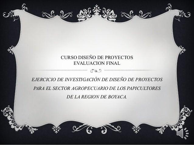 CURSO DISEÑO DE PROYECTOSEVALUACION FINALEJERCICIO DE INVESTIGACIÓN DE DISEÑO DE PROYECTOSPARA EL SECTOR AGROPECUARIO DE L...