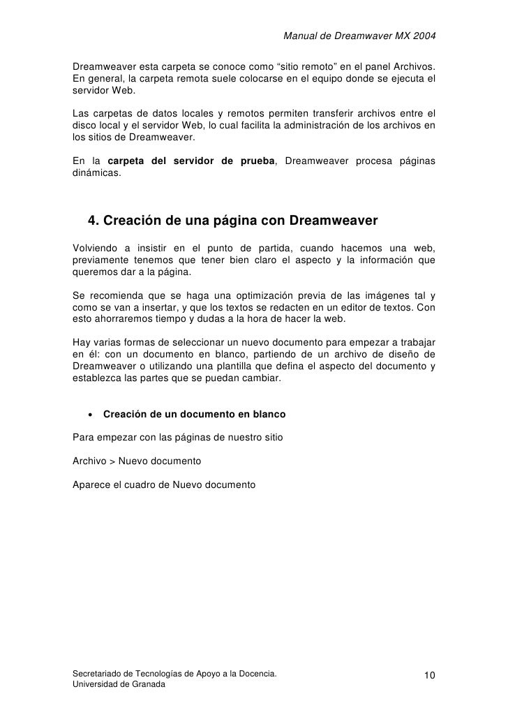"""Manual de Dreamwaver MX 2004  Dreamweaver esta carpeta se conoce como """"sitio remoto"""" en el panel Archivos. En general, la ..."""