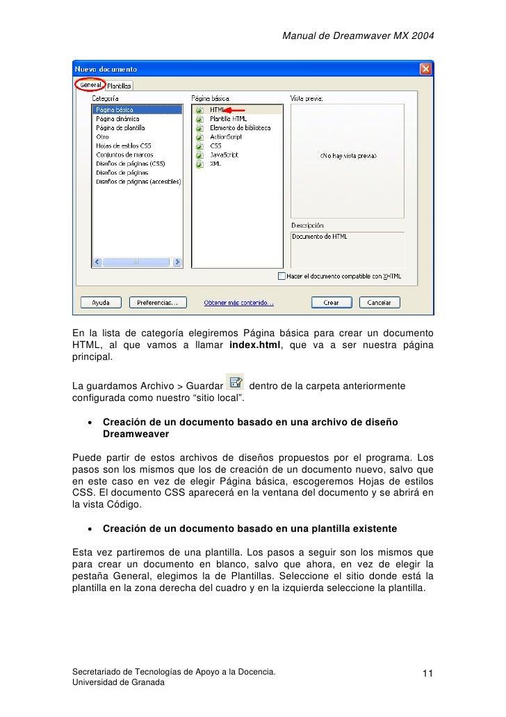 Manual de Dreamwaver MX 2004     En la lista de categoría elegiremos Página básica para crear un documento HTML, al que va...
