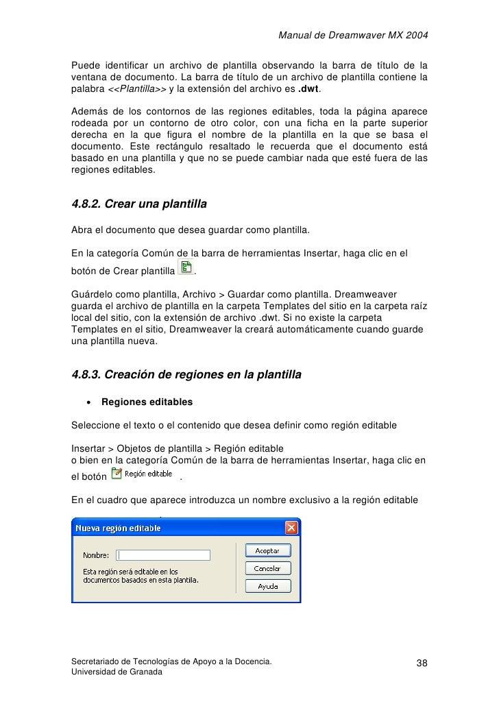 Manual de Dreamwaver MX 2004  Puede identificar un archivo de plantilla observando la barra de título de la ventana de doc...