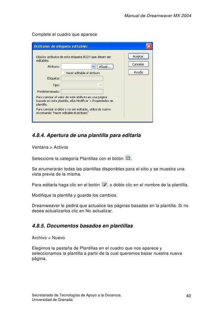 Manual de Dreamwaver MX 2004    Complete el cuadro que aparece     4.8.4. Apertura de una plantilla para editarla  Ventana...
