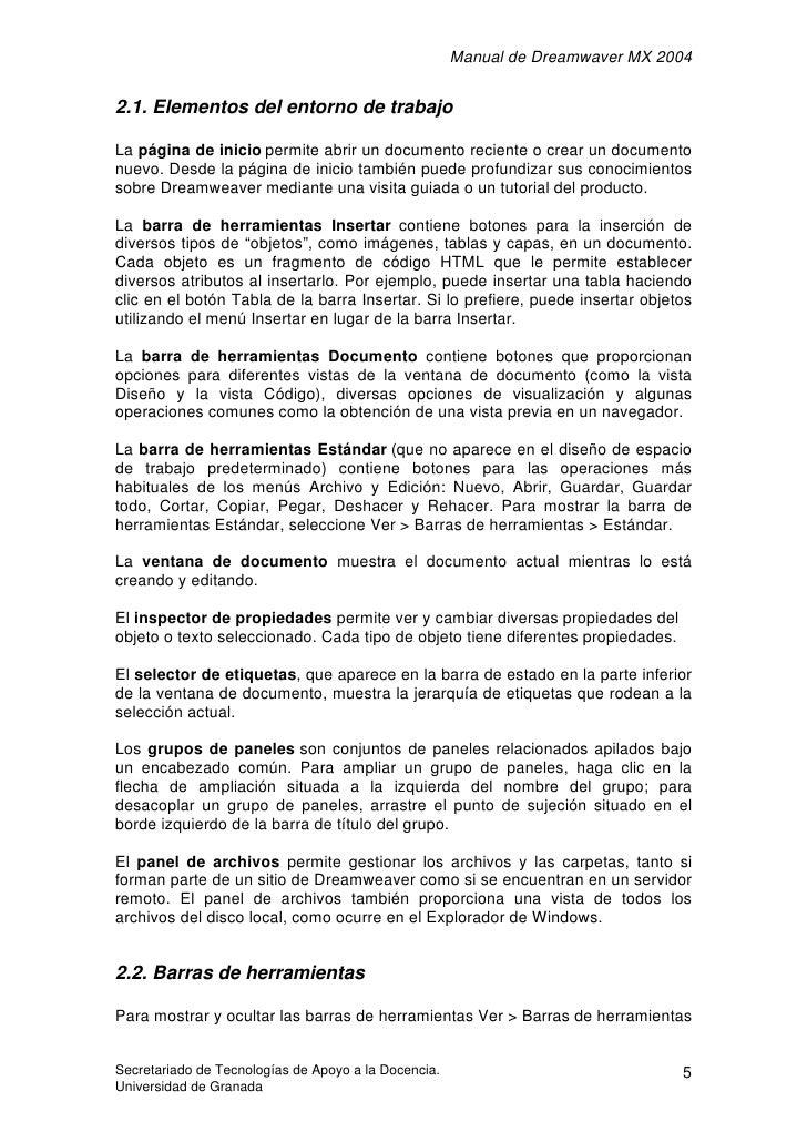 Manual de Dreamwaver MX 2004   2.1. Elementos del entorno de trabajo  La página de inicio permite abrir un documento recie...