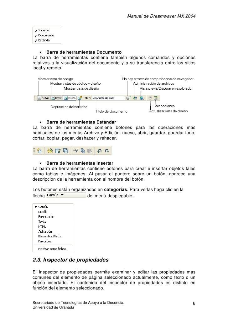 Manual de Dreamwaver MX 2004         • Barra de herramientas Documento La barra de herramientas contiene también algunos c...
