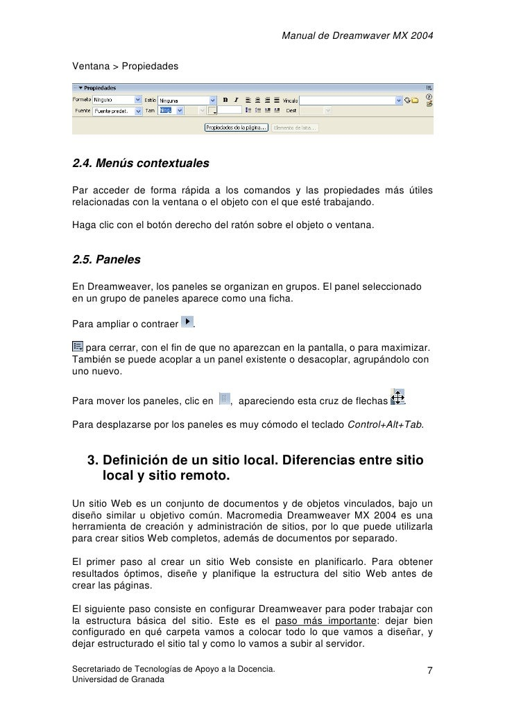 Manual de Dreamwaver MX 2004  Ventana > Propiedades     2.4. Menús contextuales  Par acceder de forma rápida a los comando...