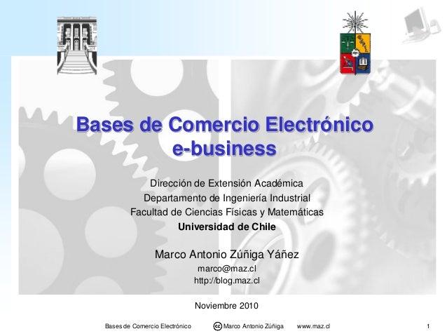 1Bases de Comercio Electrónico Marco Antonio Zúñiga www.maz.cl Bases de Comercio Electrónico e-business Dirección de Exten...