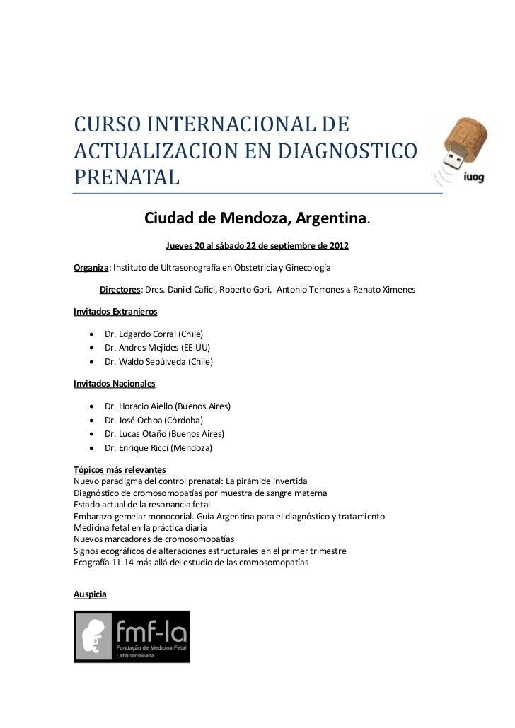 CURSO INTERNACIONAL DEACTUALIZACION EN DIAGNOSTICOPRENATAL                   Ciudad de Mendoza, Argentina.                ...