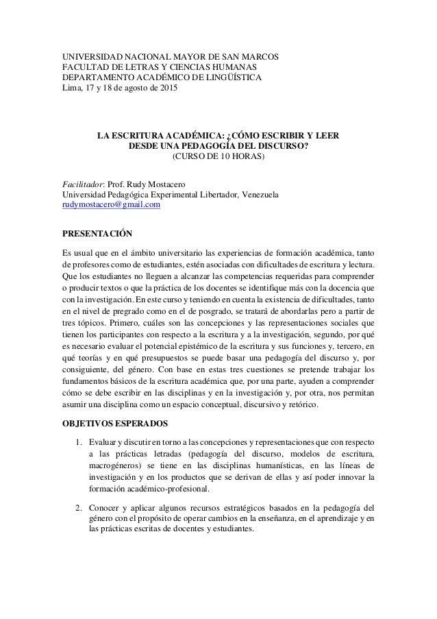 UNIVERSIDAD NACIONAL MAYOR DE SAN MARCOS FACULTAD DE LETRAS Y CIENCIAS HUMANAS DEPARTAMENTO ACADÉMICO DE LINGÜÍSTICA Lima,...