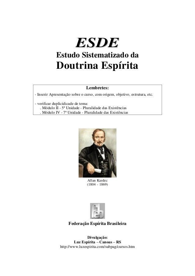 Curso Esde   estudo sist da doutrina espírita (feb)