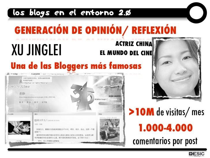 los blogs en el entorno 2.0  GENERACIÓN DE OPINIÓN/ REFLEXIÓN                           ACTRIZ CHINA XU JINGLEI           ...