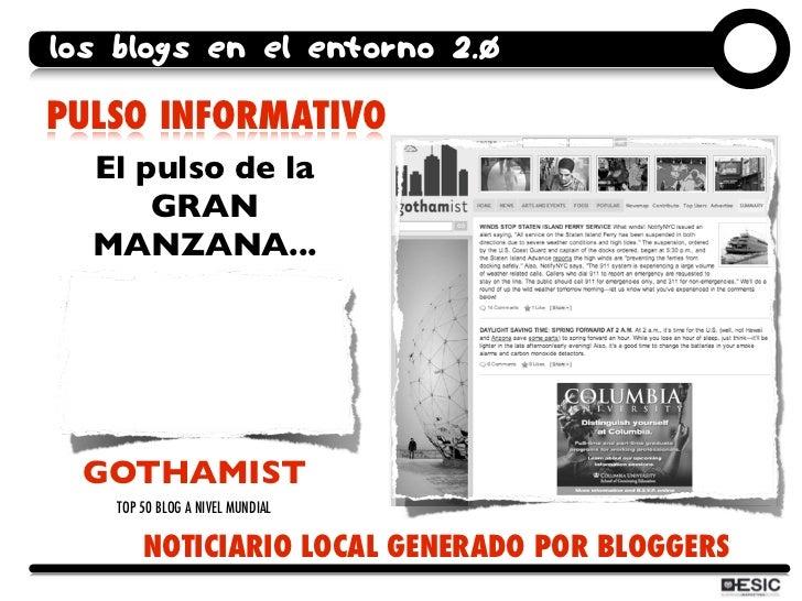 los blogs en el entorno 2.0  PULSO INFORMATIVO   El pulso de la       GRAN   MANZANA...      GOTHAMIST     TOP 50 BLOG A N...