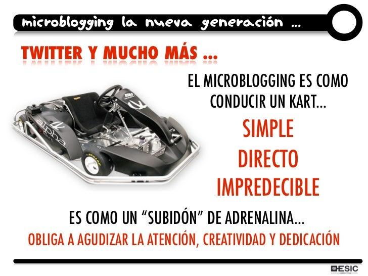 microblogging la nueva generación ...  TWITTER Y MUCHO MÁS ...                             EL MICROBLOGGING ES COMO       ...
