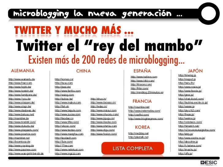 """microblogging la nueva generación ...     TWITTER Y MUCHO MÁS ...       Twitter el """"rey del mambo""""                 Existen..."""