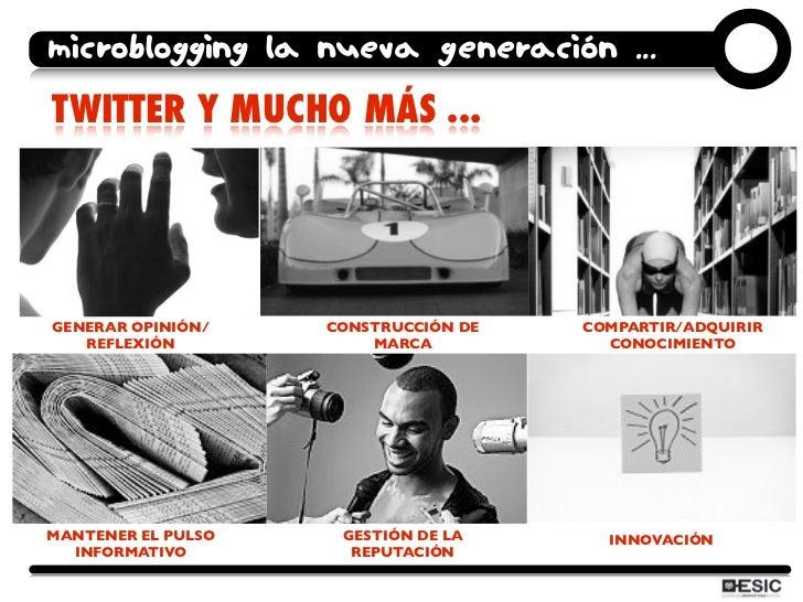 microblogging la nueva generación ... TWITTER Y MUCHO MÁS ...     GENERAR OPINIÓN/    CONSTRUCCIÓN DE   COMPARTIR/ADQUIRIR...