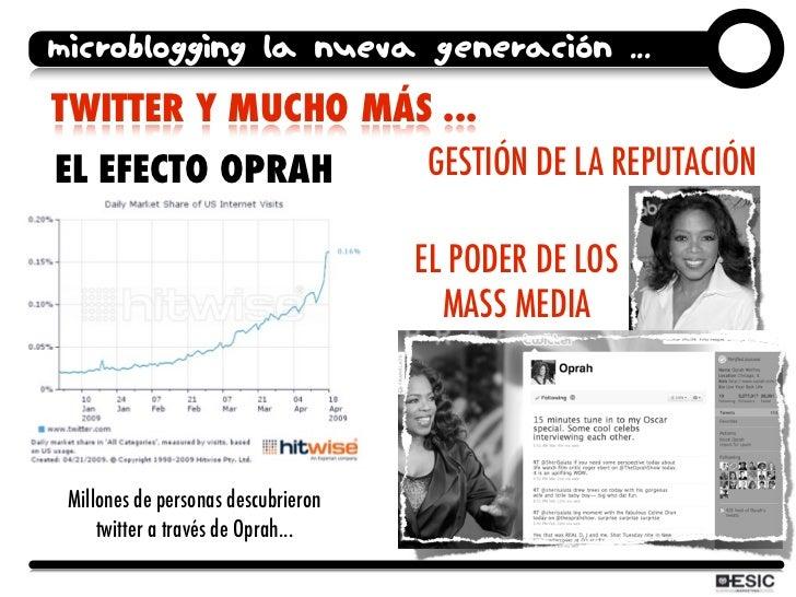 microblogging la nueva generación ... TWITTER Y MUCHO MÁS ... EL EFECTO OPRAH    GESTIÓN DE LA REPUTACIÓN                 ...