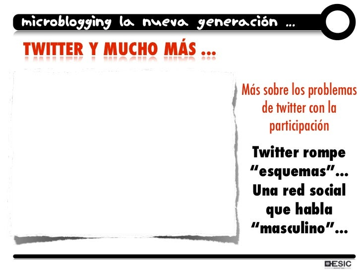 microblogging la nueva generación ... TWITTER Y MUCHO MÁS ...                               Más sobre los problemas       ...