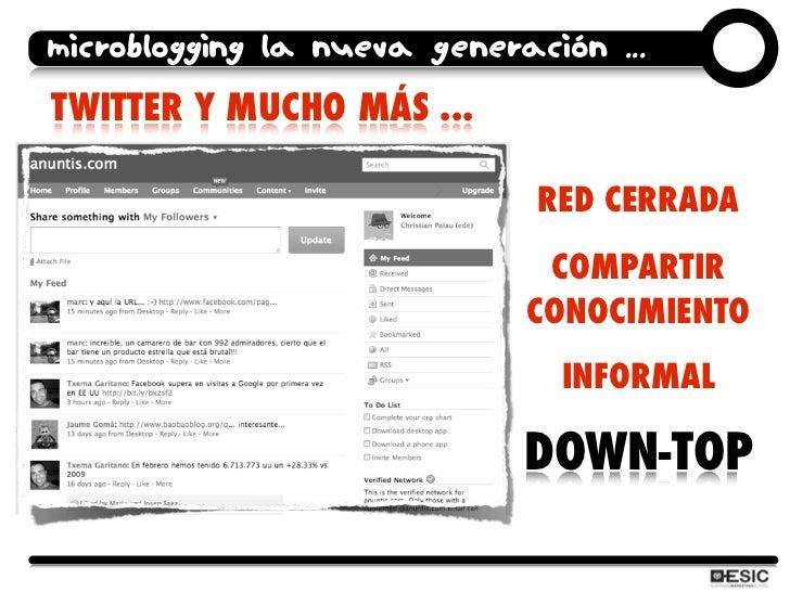 microblogging la nueva generación ... TWITTER Y MUCHO MÁS ...                                RED CERRADA                  ...