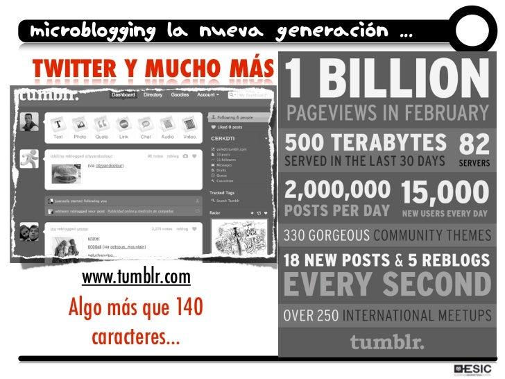 microblogging la nueva generación ... TWITTER Y MUCHO MÁS ...          www.tumblr.com    Algo más que 140       caracteres...