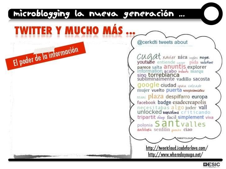 microblogging la nueva generación ... TWITTER Y MUCHO MÁS ...                 inform ación      der de la El po           ...