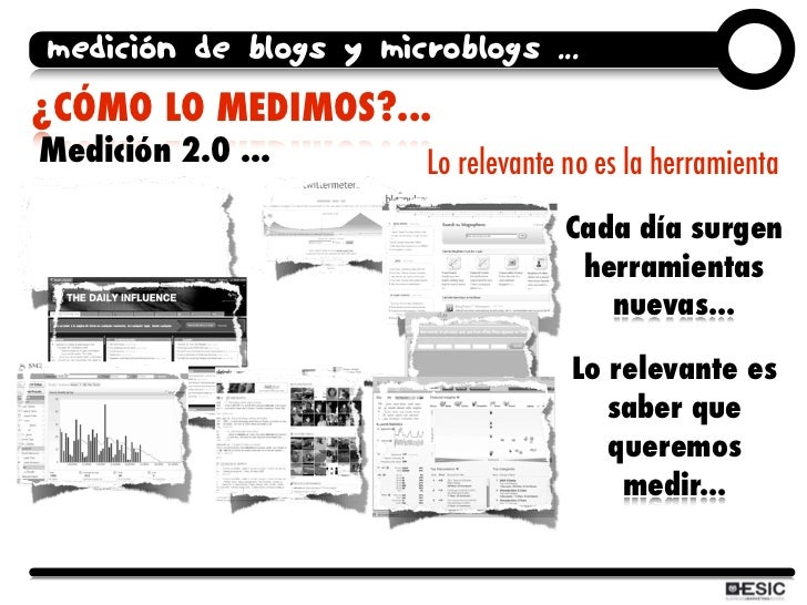 medición de blogs y microblogs ... ¿CÓMO LO MEDIMOS?... Medición 2.0 ...        Lo relevante no es la herramienta         ...