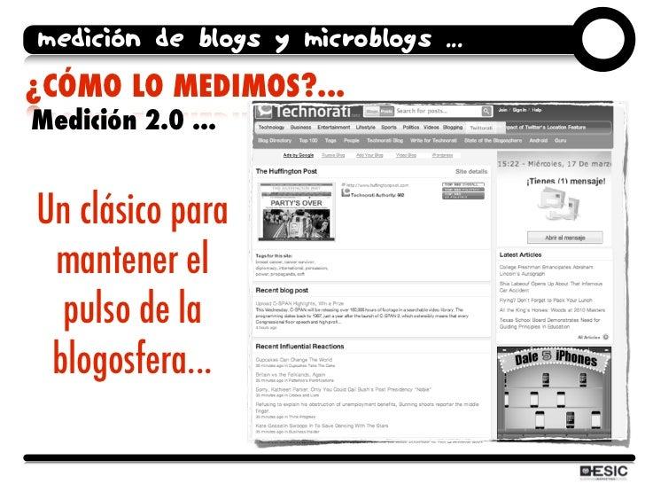 medición de blogs y microblogs ... ¿CÓMO LO MEDIMOS?... Medición 2.0 ...   Un clásico para  mantener el   pulso de la  blo...
