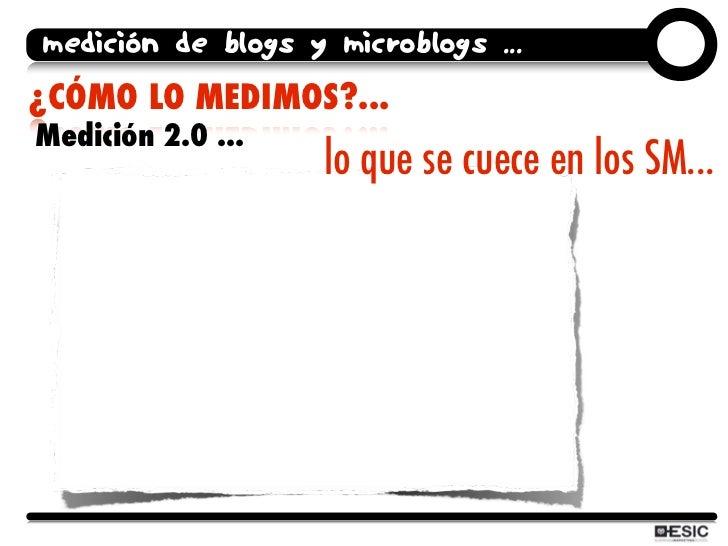 medición de blogs y microblogs ... ¿CÓMO LO MEDIMOS?... Medición 2.0 ...                    lo que se cuece en los SM...