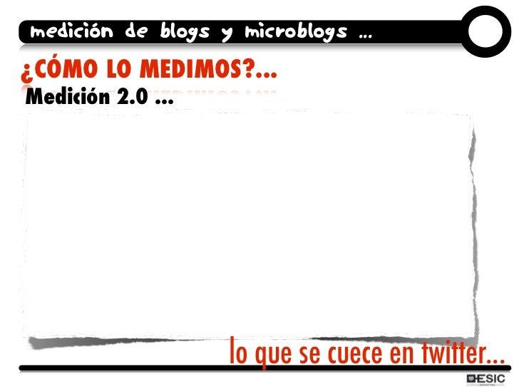 medición de blogs y microblogs ... ¿CÓMO LO MEDIMOS?... Medición 2.0 ...                        lo que se cuece en twitter...