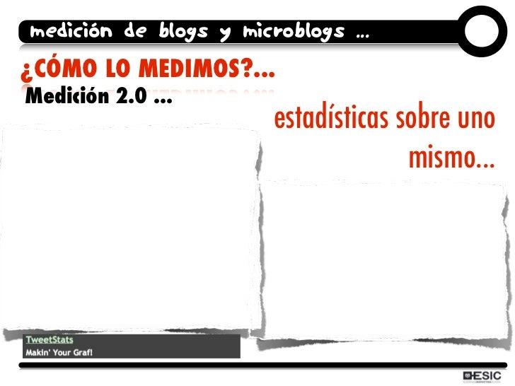 medición de blogs y microblogs ... ¿CÓMO LO MEDIMOS?... Medición 2.0 ...                         estadísticas sobre uno   ...