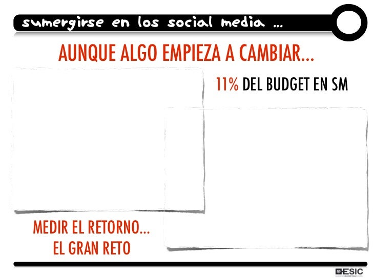 SUMERGIRSE EN LOS SOCIAL MEDIA ...       AUNQUE ALGO EMPIEZA A CAMBIAR...                          11% DEL BUDGET EN SM   ...