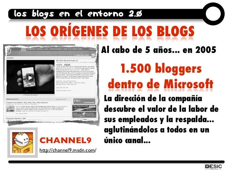 los blogs en el entorno 2.0    LOS ORÍGENES DE LOS BLOGS                                  Al cabo de 5 años... en 2005    ...