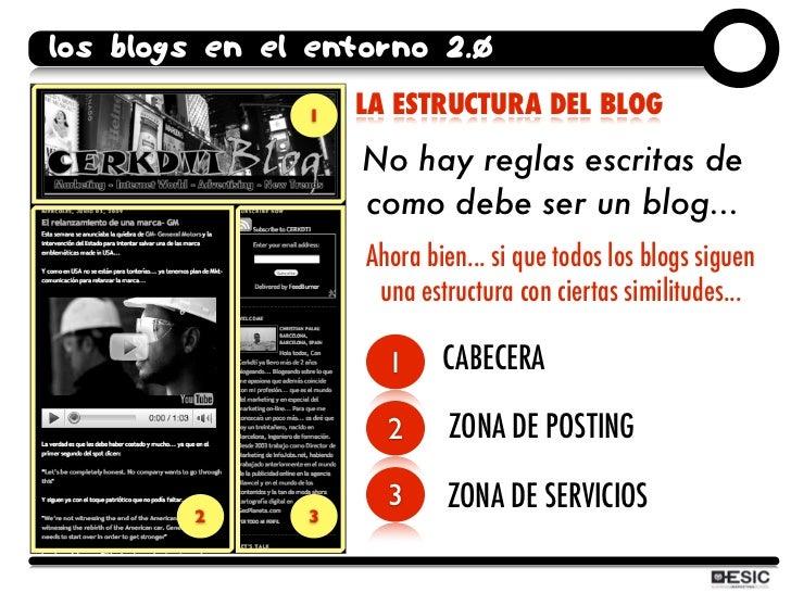 los blogs en el entorno 2.0                1   LA ESTRUCTURA DEL BLOG                     No hay reglas escritas de       ...