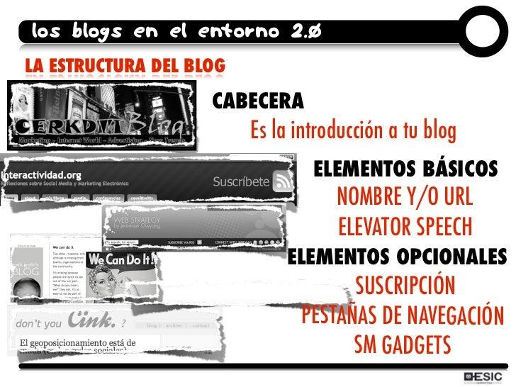 los blogs en el entorno 2.0 LA ESTRUCTURA DEL BLOG                     CABECERA                          Es la introducció...
