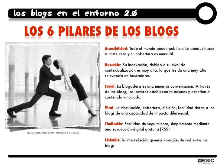los blogs en el entorno 2.0    LOS 6 PILARES DE LOS BLOGS                                                  Accesibilidad: ...