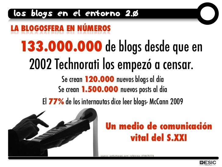 los blogs en el entorno 2.0 LA BLOGOSFERA EN NÚMEROS    133.000.000 de blogs desde que en    2002 Technorati los empezó a ...