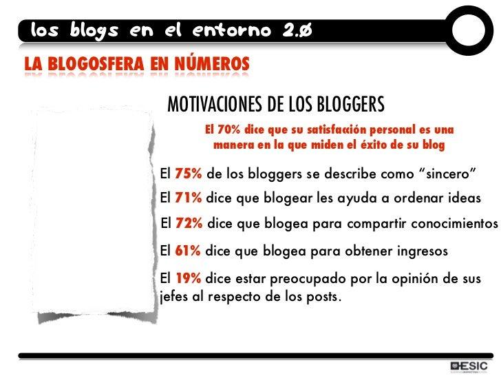 los blogs en el entorno 2.0 LA BLOGOSFERA EN NÚMEROS                 MOTIVACIONES DE LOS BLOGGERS                      El ...
