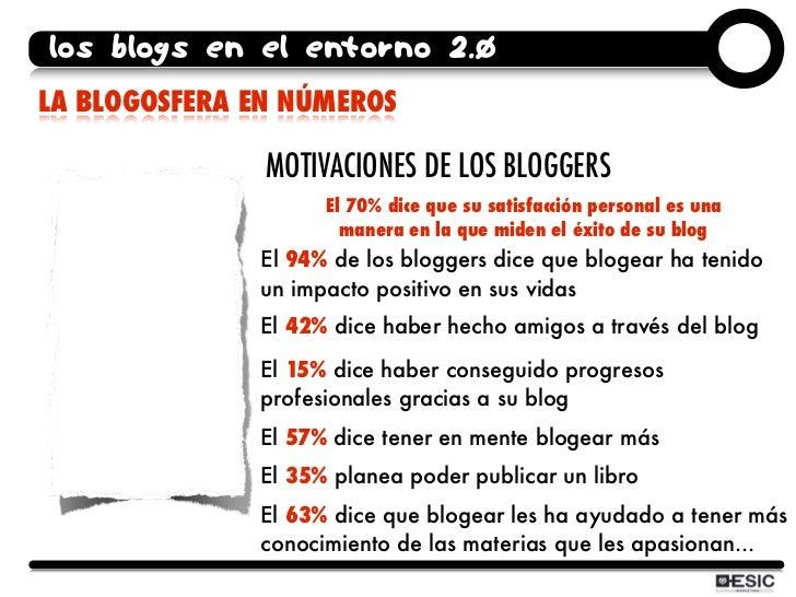 los blogs en el entorno 2.0 LA BLOGOSFERA EN NÚMEROS                 MOTIVACIONES DE LOS BLOGGERS                     El 7...