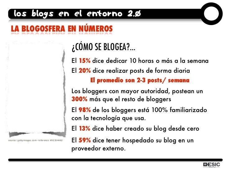 los blogs en el entorno 2.0  LA BLOGOSFERA EN NÚMEROS                                                 ¿CÓMO SE BLOGEA?... ...