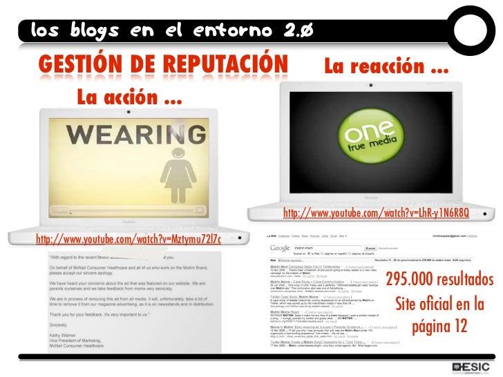 los blogs en el entorno 2.0 GESTIÓN DE REPUTACIÓN                                 La reacción ...          La acción ...  ...